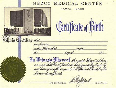 Mercy Hospital Birth Records Mercy Center Certificate Of Birth Na Idaho Flickr