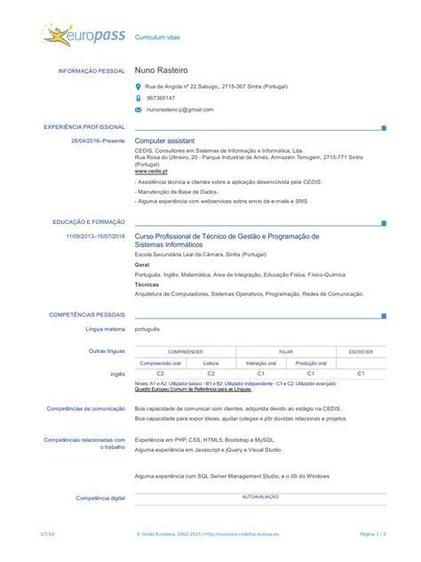 Modelo Cv Europass Portugues cv europass 20160701 rasteiro pt pdf cv europass 20160701
