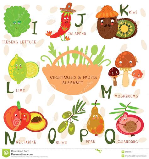 j k fruits alphabet of fruit and vegetables r s t u v