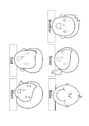 English Worksheets Family Finger Puppets