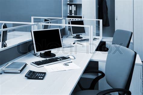 Office Desk Tops Computers On A Desk In A Modern Office Stock Photo Colourbox