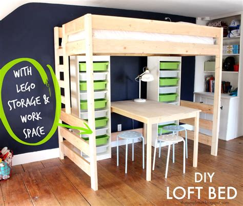 diy loft bed  desk  storage