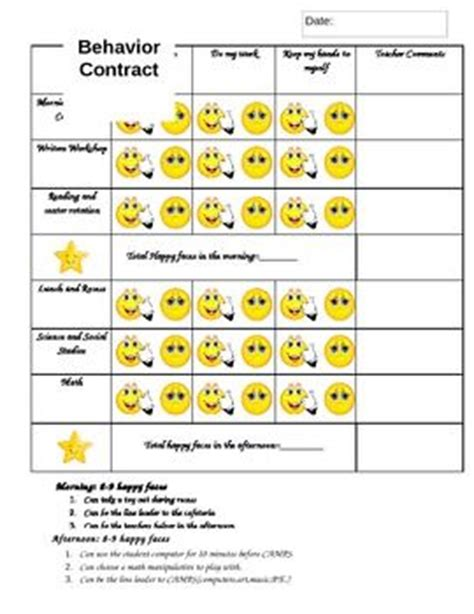 smiley behavior chart template behavior contract resource 5 smiley contract for
