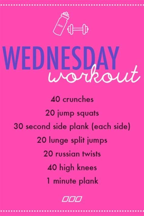 workout wednesday the beginner s exercise plan exercises for women female fitness by wednesday workout quot wednesday workouts quot pinterest