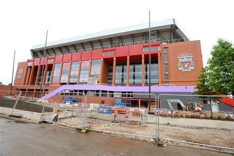second liverpool crest added to new main stand as anfield