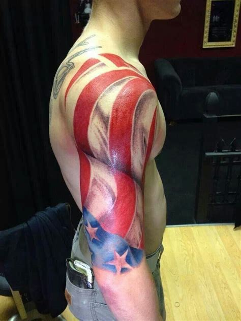 american flag tattoo sleeve patriotic american flag tat2oos