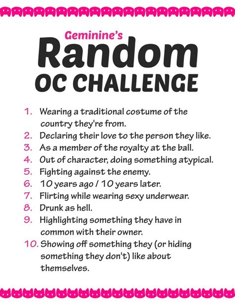 list of challenges random oc challenge list by geminine nyan on deviantart