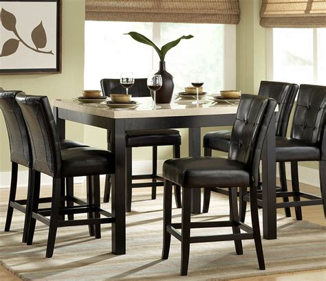 black dining room set homelegance archstone 7 piece counter height dining room set w black chairs beyond stores