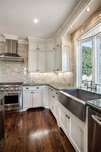 Classic white kitchen with subway tile 187 stainless sink with green
