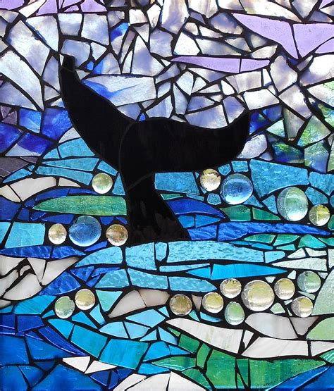 Duvet Company Mosaic Stained Glass Whale Tail Glass Art By Catherine