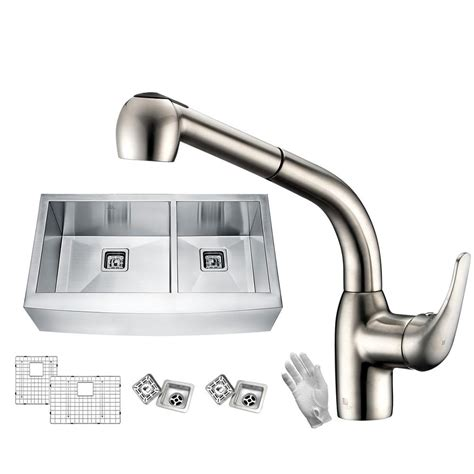 brushed nickel farmhouse sink anzzi elysian farmhouse stainless steel 36 in 60 40