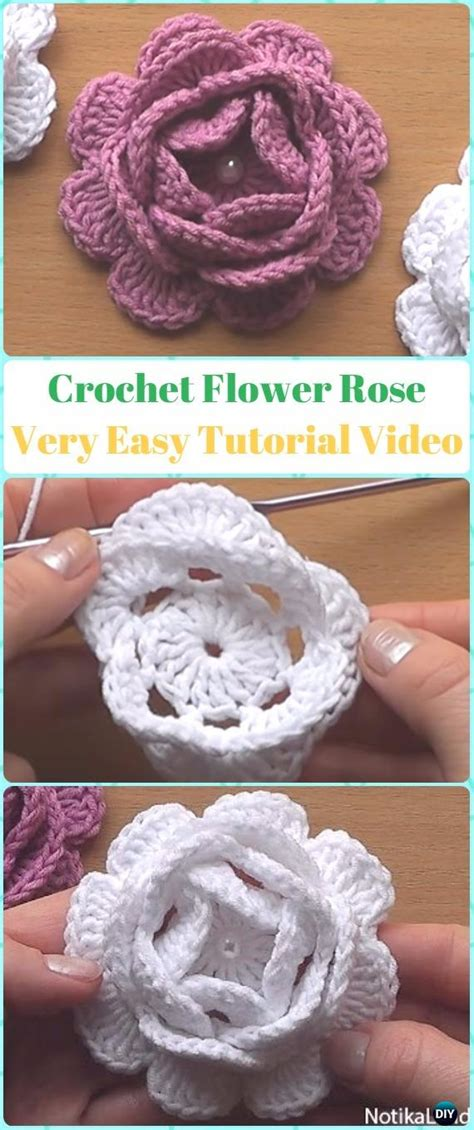 crochet  rose flowers  patterns tutorials