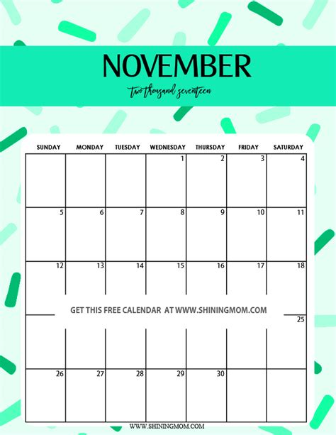 Printable Calendar 2017 November Cute | fun and cute 2017 calendar printable