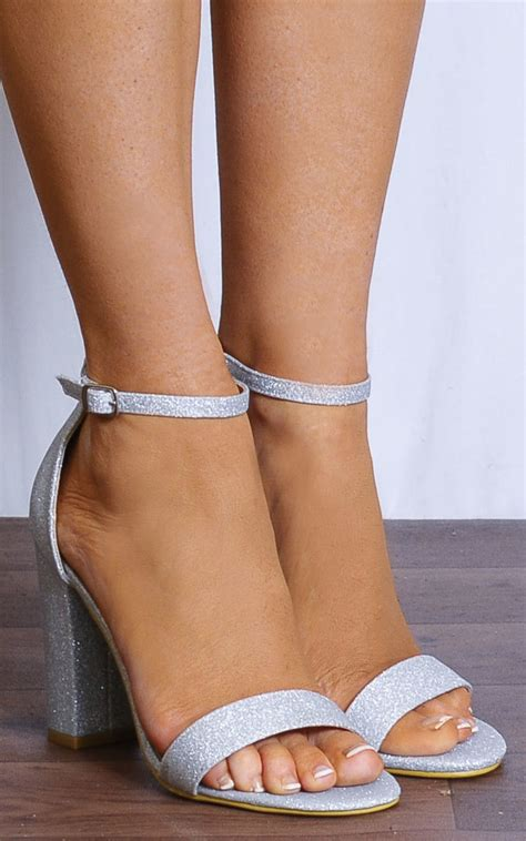 High Heels Black Gold 00001 silver glitter barely there ankle strappy sand