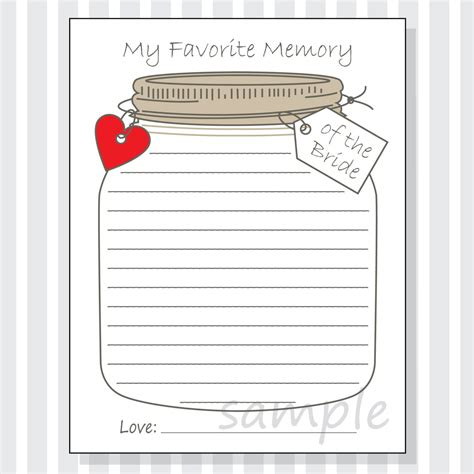 memory template my favorite memory of the printable cards for a