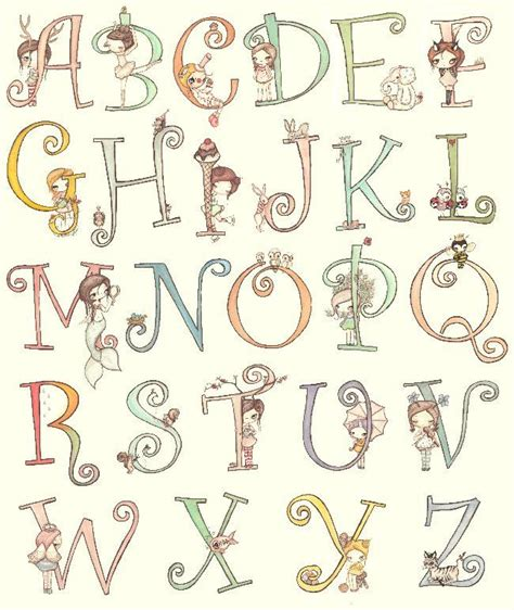 printable alphabet art alphabet art print letters cute animals and girls custom