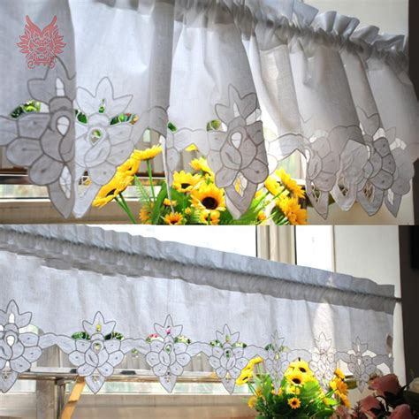 garden window curtains 2015 new fashion white 100 cotton floral embroidery lace