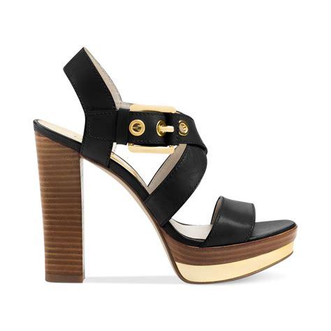 michael kors sandal michael kors michael calder platform sandals in black lyst