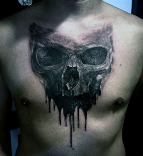 watercolor like realism style black ink dark skull tattoo
