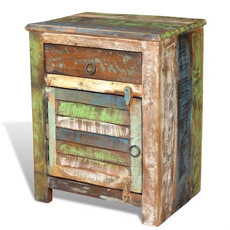 nachttischle vintage vidaxl co uk reclaimed wood cabinet multicolour end