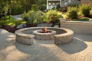 Stone Patio Designs With Fire Pit by Custom Brick Patio With Fire Pit And Sitting Wall