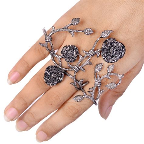 Handmade Ring Designs - jewels four finger ring ring knuckle ring black