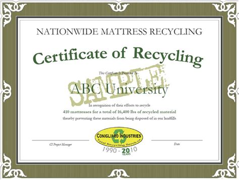 certificate of recycling template welcome to nationwide mattress corporate sustainability