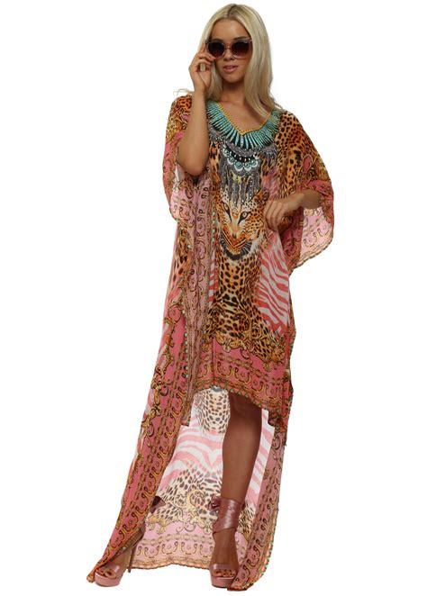 Kaftan Viscose Baby Pink woodford reay baby pink leopard print maxi dress