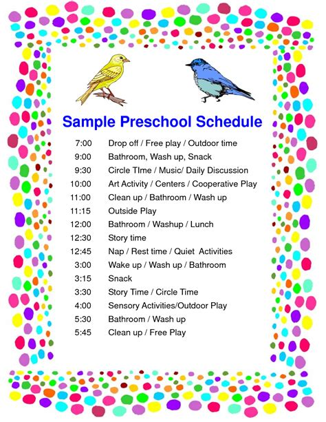 best photos of preschool daily schedule template free