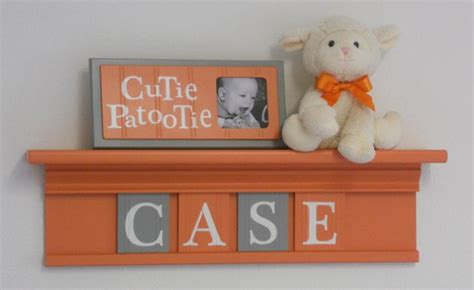 Orange And Gray Baby Girl Nursery Decor Case 24 Quot Shelf Orange Nursery Decor