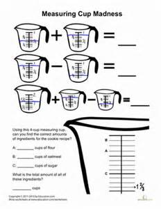 Kitchen Measuring Lesson Plans Measuring Cups Madness Worksheet Education