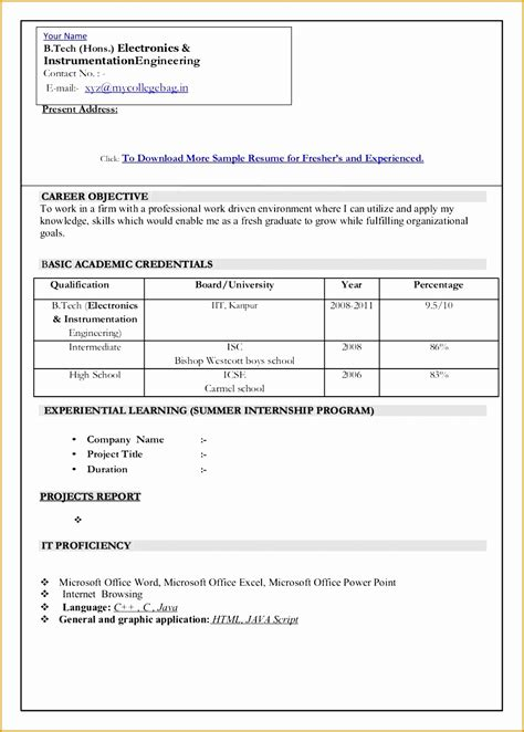 Graduate Resume Template Free by 6 Graduate Fresher Resume Templates Free Sles