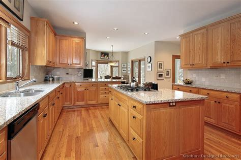 Light Wood Cabinets Kitchen Granite Countertops Oak Cabinets And Granite On