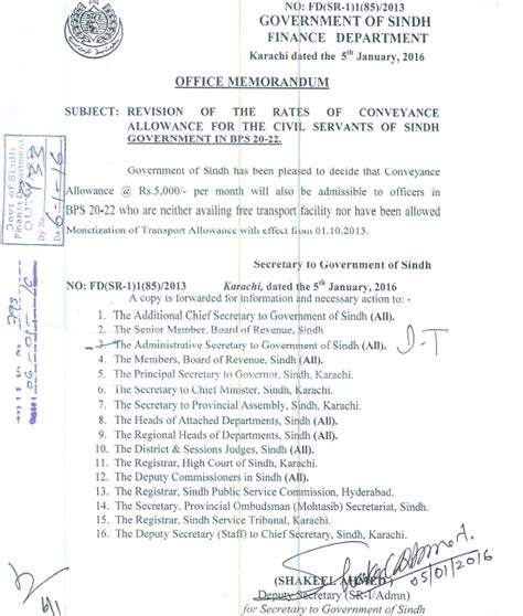 Appointment Letter Karachi Revision Of Rates Of Conveyance Allowance Sindh Bps 20 To Bps 22 Galaxy World