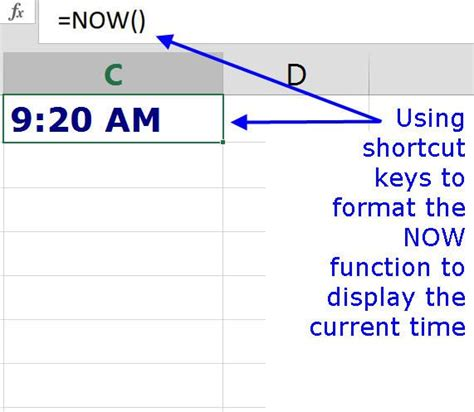 format excel time add the current date time in excel using shortcut keys