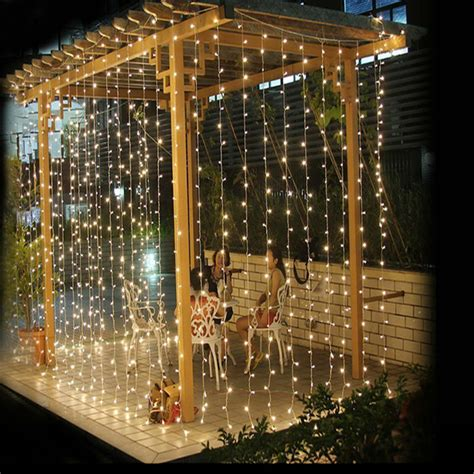 300 led warm white string curtain light 3m x 3m 300 led outdoor curtain garlands home warm white
