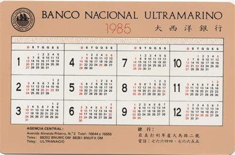 Calendario De 1985 Calend 225 Bnu 1985 Verso