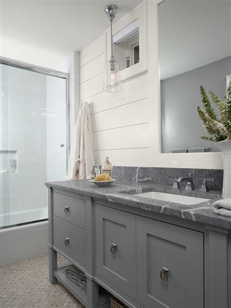 tongue and groove bathroom cabinets soapstone countertop master bath painted grey cabinets