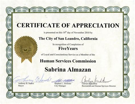 search results for certificate of appreciation years of