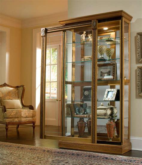 sliding door curio pulaski furniture curios estate oak two way sliding door