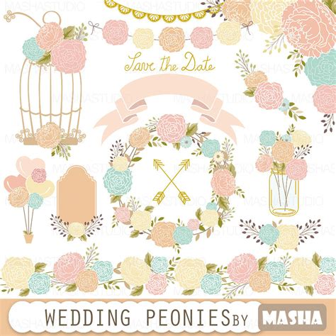peony clipart wedding peonies wedding peonies clipart with