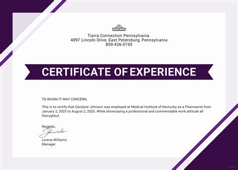 experience certificate templates free certificate of experience template in adobe