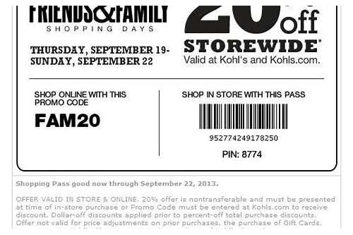 kohls coupons upcoming