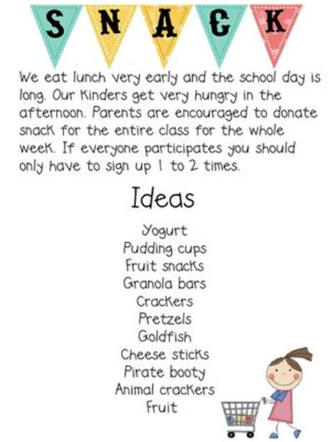 up letter to parents snack letter and sign up sheet an organized classroom