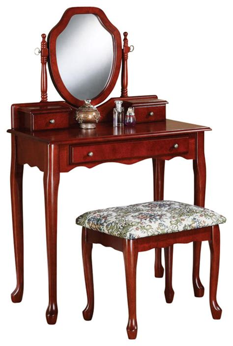traditional cherry vanity set swivel mirror   table dresser fabric seat traditional