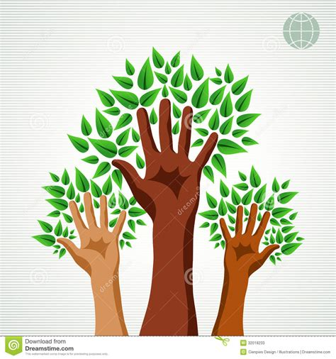 Great Green Idea Save Our Trees by Diversity Green Concept Tree Stock Photos Image