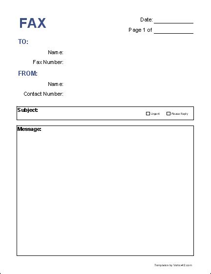 fax form template free fax cover sheet template printable fax cover sheet