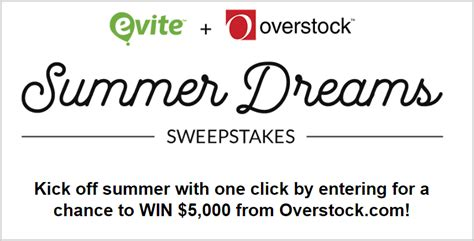 Overstock Sweepstakes 2017 - evite 5 000 overstock bring home summer sweepstakes