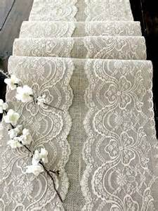 wedding table runner with beige lace rustic wedding