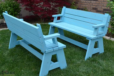 picnic table converts to bench convertible picnic table and bench home design garden
